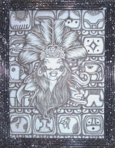Mayan Ink Drawing by inmate Jahn
